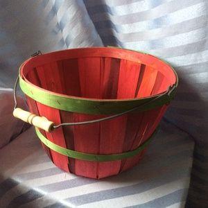 Red and Green Wooden Apple Bushel - Medium-sized